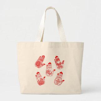 Red Henna Tattoo Hands Canvas Bag