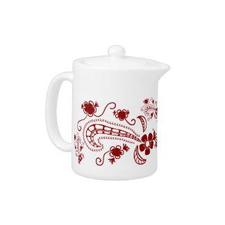 Red Henna Tattoo Pattern Teapot