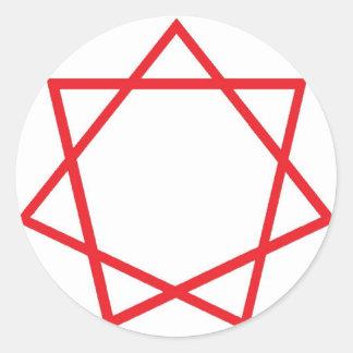 Red Heptagram Classic Round Sticker