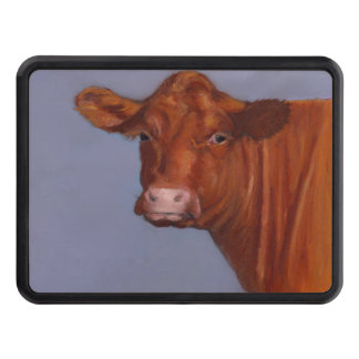 Red Hereford Cow, Oil Pastel Painting Hitch Cover