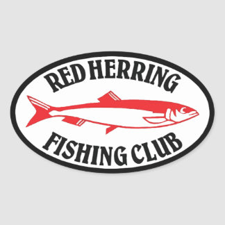 Red Herring Fishing Club Oval Sticker