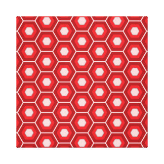 Red Hex Tiled Canvas