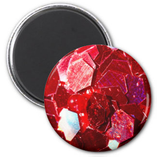 Red hexagon abstract shiny glitter pattern 2 inch round magnet