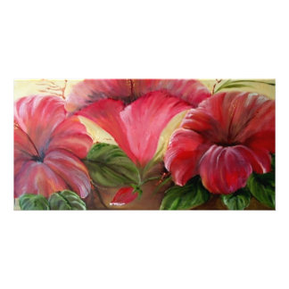 RED HIBISCOS PHOTO GREETING CARD