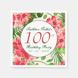 Red Hibiscus 100th Birthday Party Paper Napkin