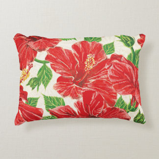 Red Hibiscus Accent Pillow