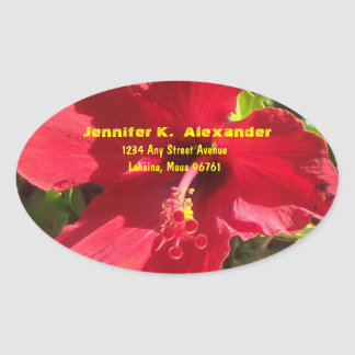 Red Hibiscus address label Oval Sticker