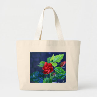 Red hibiscus after rain large tote bag