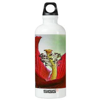 Red Hibiscus Aluminum Water Bottle