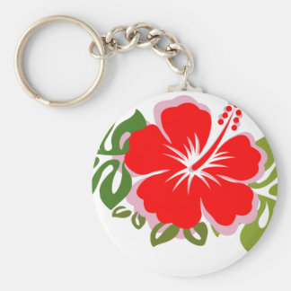 Red Hibiscus and Leaves Basic Round Button Keychain