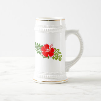 Red Hibiscus and Leaves Beer Stein