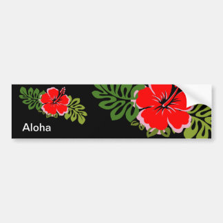 Red Hibiscus and Leaves Car Bumper Sticker