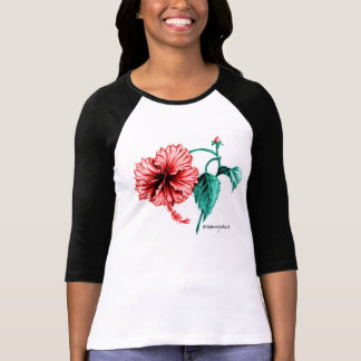 Red Hibiscus Baseball Shirt for Women