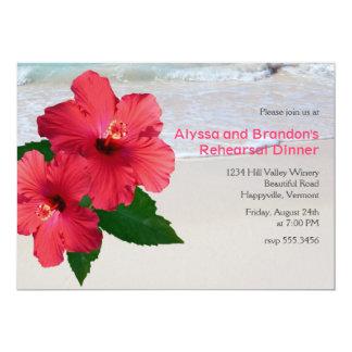 Red Hibiscus Beach Wedding Rehearsal Dinner Card