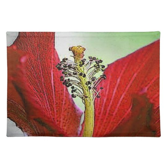 Red Hibiscus Cloth Placemat
