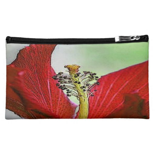 Red Hibiscus Cosmetics Bags