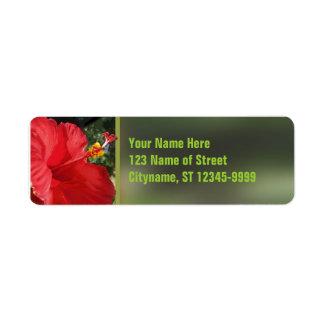 Red Hibiscus Custom Return Address Labels