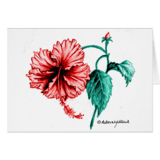 Red Hibiscus Drawing Card