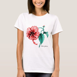 Red Hibiscus Drawing T-Shirt