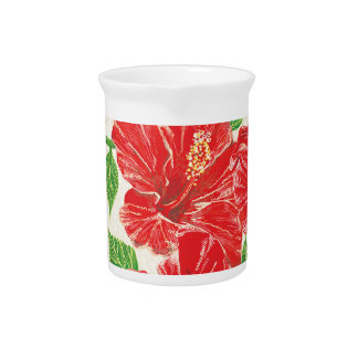 Red Hibiscus Drink Pitcher