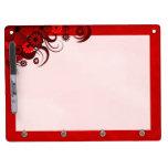 Red Hibiscus Dry-Erase Board Horizontal 9x12 Hooks Dry-Erase Whiteboard