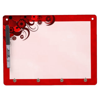 Red Hibiscus Dry-Erase Board Horizontal 9x12 Hooks