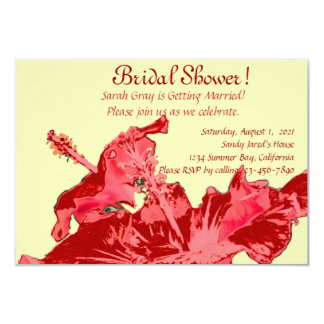 Red hibiscus exotic floral bridal shower card