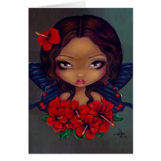 """""""Red Hibiscus Fairy"""" Greeting Card"""