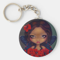 art, tiki, red, hibiscus, flower, tropical, hawaii, hawaiian, flowers, butterfly, butterflies, fantasy, eye, eyes, big eye, big eyed, jasmine, becket-griffith, becket, griffith, jasmine becket-griffith, jasmin, strangeling, artist, goth, gothic, fairy, gothic fairy, faery, fairies, faerie, fairie, lowbrow, low brow, big eyes, strangling, fantasy art, original, lowbrow art, Keychain with custom graphic design