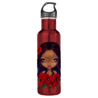 Red Hibiscus Fairy tiki tropical 24oz Water Bottle