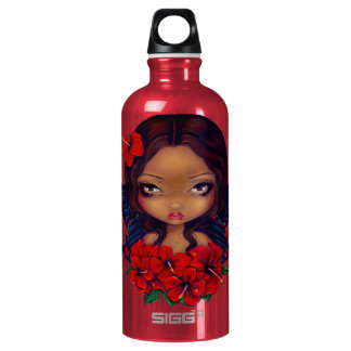 Red Hibiscus Fairy tiki tropical Water Bottle