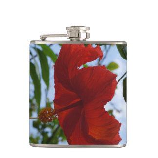 Red Hibiscus Hip Flasks