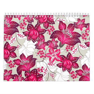 Red hibiscus floral calendar