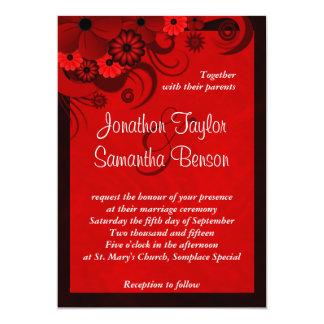 Red Hibiscus Floral Custom Wedding Invitation Custom Invitations