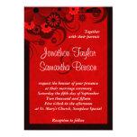 "Red Hibiscus Floral Custom Wedding Invitation 5"" X 7"" Invitation Card"