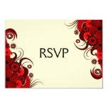 "Red Hibiscus Floral Elegant RSVP Response Cards 3.5"" X 5"" Invitation Card"