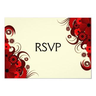 Red Hibiscus Floral Elegant RSVP Response Cards Announcements