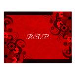 Red Hibiscus Floral Elegant RSVP Response Cards Postcards