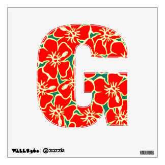 Red Hibiscus Floral Luau Tropical Initial Letter G Wall Decal