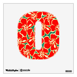 Red Hibiscus Floral Luau Tropical Initial Letter O Room Graphics