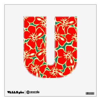 Red Hibiscus Floral Luau Tropical Initial Letter U Room Sticker