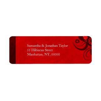 Red Hibiscus Floral Return Address Labels Favors Custom Return Address Label