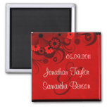 Red Hibiscus Floral Save The Date Fridge Magnets Magnet