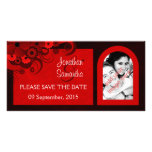 Red Hibiscus Floral Save The Date Photo Cards Customized Photo Card