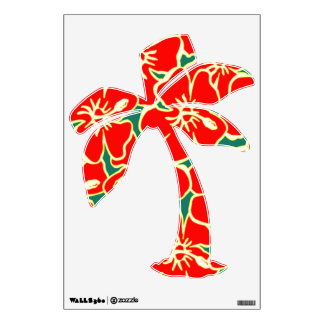 Red Hibiscus Floral Tropical Luau Palm Tree Wall Sticker
