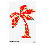 Red Hibiscus Floral Tropical Luau Palm Tree Wall Decal