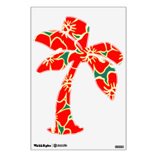 Red Hibiscus Floral Tropical Luau Palm Tree Wall Skins
