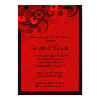Red Hibiscus Floral Wedding Bridal Shower Invites Custom Announcements