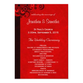 Red Hibiscus Floral Wedding Program Templates Custom Announcements