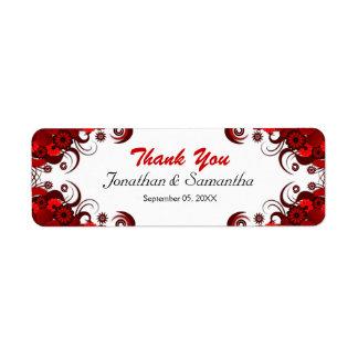 Red Hibiscus Floral Wedding Small Favor Labels Custom Return Address Label